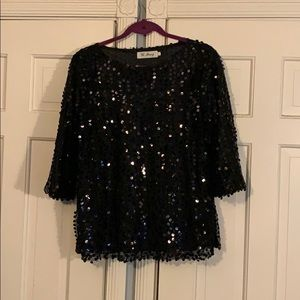 Sheer Lined Black Sequin Top